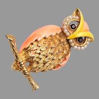Enameled Owl Brooch with Seed Pearl Eyes