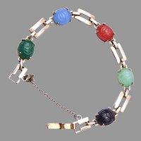 Gold Filled Natural Stone Scarab Bracelet