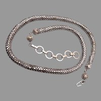 Silver Tone Mesh Necklace Textured Chain
