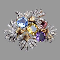 Gorgeous Jomaz Brooch with Large Unfoiled Stones