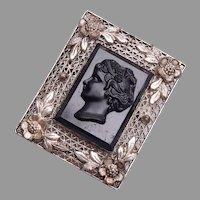 Czechoslovakia Black Glass Cameo Brooch