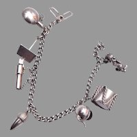 Sterling Charm Bracelet with Several Movable