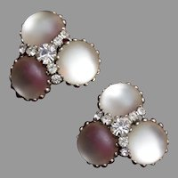 Frosted Glass and Rhinestone Earrings