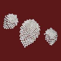 Beautiful Brooch and Earring Set - Prong Set Rhinestones