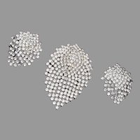 Beautiful Brooch and Earring Set - Prong Set Rhinestones