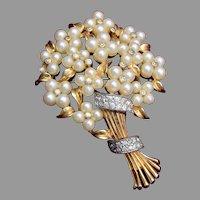 Jomaz Faux Pearl Bouquet of Flowers Brooch