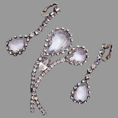 Open Back Crystal Flower and Drop Earrings