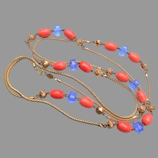 Freirich Well Made Long Necklace with Purple and Coral Glass Beads