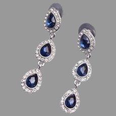 Monet Blue Dangle Rhinestone Pierced Earrings