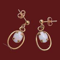 Gold Filled Opal Dangle Pierced Earrings