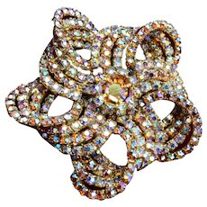 Well Made Pin Wheel Brooch with AB Prong Set Rhinestones