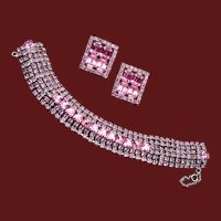 Pink 5 Row Rhinestone Bracelet and Earring Set