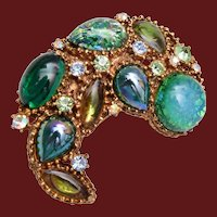 Art Glass and Green Stone Brooch
