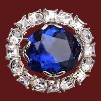 Well Made Blue Rhinestone Brooch