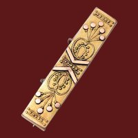 Gold Filled Etruscan Bar Pin or Brooch