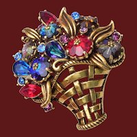 Weiss Rivoli or Margarita Rhinestone Flower Basket Brooch
