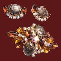 Regency Attributed Brooch and Earring Set