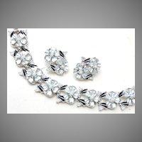 Judy Lee Bracelet and Earring Set - Enameled and Seed Pearl Flowers