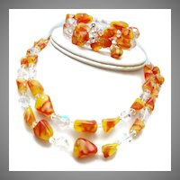 Red and Yellow Glass and Crystal Necklace and Bracelet Set