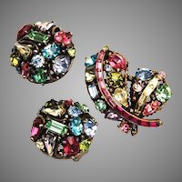 Hollycraft 1955 Pastel Rhinestone Brooch and Earring Set