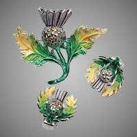 Enamel and Marcasite Irish Thistle Brooch and Earring Set