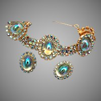 Super AB Prong Set Rhinestone and Glass Jelly Bracelet and Earring Set