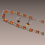 Open Backed Topaz Crystal Necklace and Earring Set