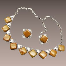 Coro Bakelite Necklace and Earring Set