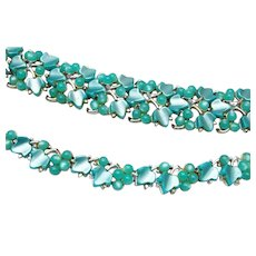 Charel Turquoise Thermoset Leaf and Berry Necklace and Bracelet