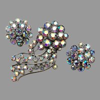 BSK Blue AB Rhinestone Shooting Star Brooch and Earring Set