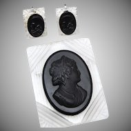 Reverse Carved Lucite Cameo Brooch and Earring Set