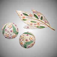 Kramer Enameled Brooch and Earring Set