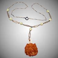 Bakelite Rose and Celluloid Chain Necklace