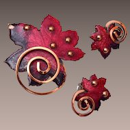 Matisse Red Enameled Leaf Copper Brooch and Earring Set