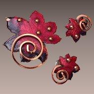 Matisse Red Enameled Leaf Copper Brooch and Earring Set