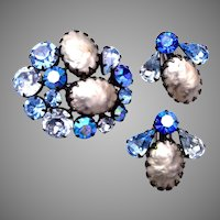 Regency Blue Prong Set Rhinestones and Faux Baroque Pearl Brooch and Earring Set