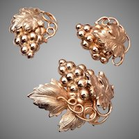 Napier 1960's Grapes Brooch and Earrings Set Book Piece