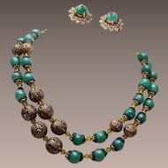 Hobe' Green Glass, Crystal and Filigree Necklace and Earring Set