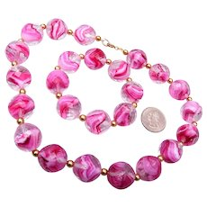 Gorgeous Givre' Pink Beaded Necklace and Earring Set