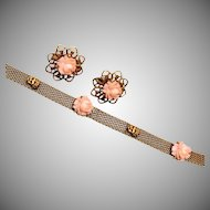 Goldette NYC Coral and Cherub Bracelet and Earring Set
