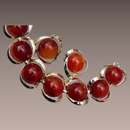Amber Colored Thermoset Bracelet and Earrings
