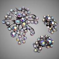 BSK Aurora Borealis Stone Brooch and Earring Set