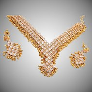 Open Backed Rhinestone Necklace and Pierced Earring Set