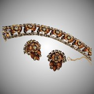 Frosted Brown Rhinestones and Gray Stones in Flower Set