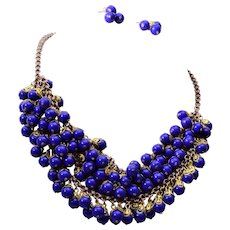 Blue Glass Beaded 3 Strand Necklace and Pierced Earring Set