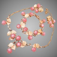 Pink Lucite and Enamel Parure