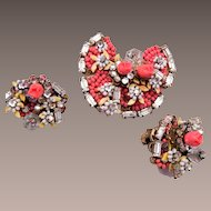 Robert signed Glass Beads and Flowers Butterfly Brooch and Earring Set
