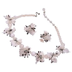 White Glass Flower Necklace