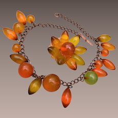 Apple Juice Bakelite Necklace and Brooch
