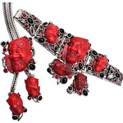 Selro Red Noh Mask Necklace, Bracelet and Earring Set